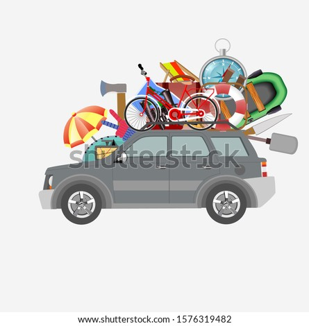 Summer travel, eco tourism, outland tourism illustration with car.