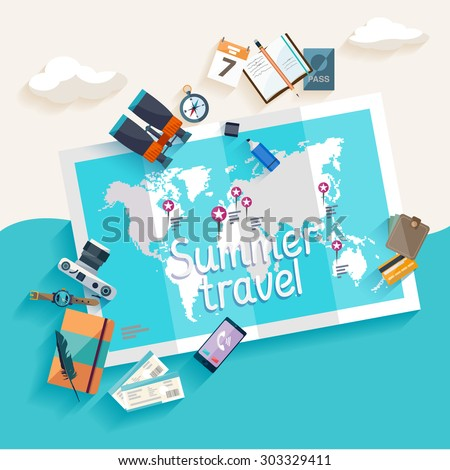summer travel flat design