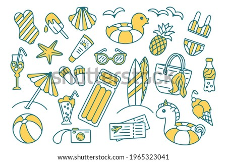 Summer travel, holiday and vacation doodle set isolated on white background. Hand drawn beach vector objects. For wrapping, package, poster, web design, fabric. Sunglasses, inflatable unicorn and duck