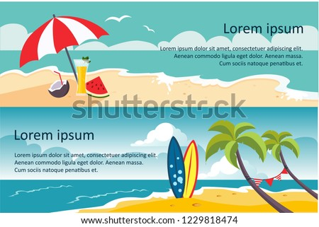 Summer travel horizontal banners, sandy beach, umbrella, sea or ocean waves, palms and surfing board vector Illustration