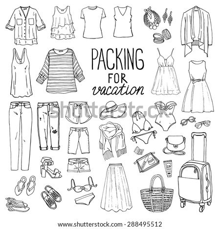 Shutterstock Summer travel luggage. Packing for vacation. Woman clothing set. Vector hand-drown objects illustrations. Black and white fashion collection.