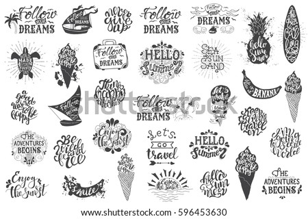 Summer Travelling Hand Drawn Lettering Typography Inscriptions And Quotes Big Set For Inspiring Label