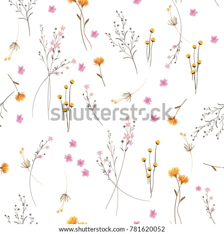 Summer Trendy  white blowing  Floral pattern in the many kind of flowers. Wild botanical  Motifs scattered random. Seamless vector texture. For fashion prints in hand drawn style on white background.