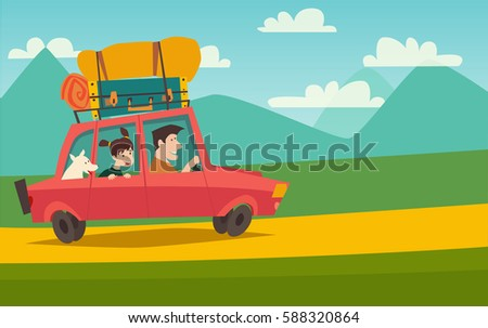 Summer trip vector illustration space for your text. Family with dog on vacation. Cartoon character happy dad and daughter on summer holidays. Car trip to camp, tourism concept