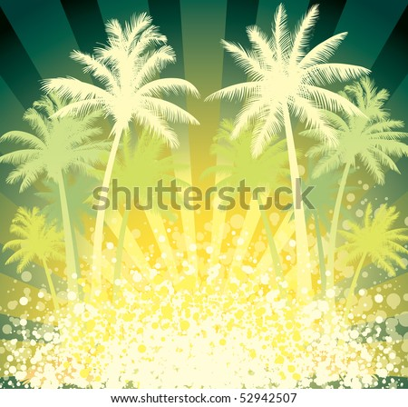 Summer tropical background, coconut palm trees and sun - stock vector