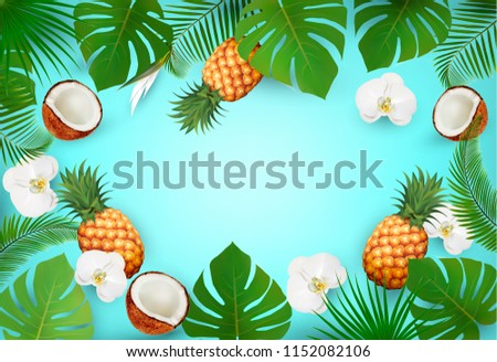 Summer tropical background with exotic palm leaves and flowers and a space for text. Vector #1152082106