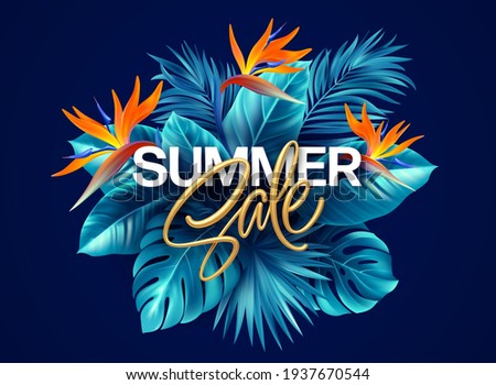 Summer tropical background with Strelitzia flowers and tropical leaves. The inscription golden Summer Sale on a background of tropical green leaves. Summer Sale concept. Vector illustration EPS10