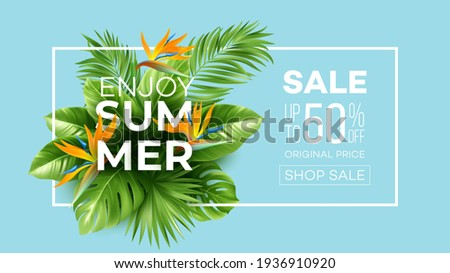 Summer tropical background with Strelitzia flowers and tropical leaves. The inscription Summer Sale on a background of tropical green leaves. Summer Sale concept. Vector illustration EPS10