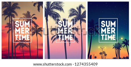 Summer tropical backgrounds set N2 with palms, sky and sunset. Summer placard poster flyer invitation card. Summertime