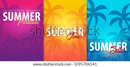 Summer tropical backgrounds set with palms and sunset. Summer placard poster flyer invitation card. Summer time. Vector Illustration