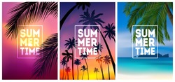 Summer tropical backgrounds set with palms, sky and sunset. Summer placard poster flyer invitation card. Summertime