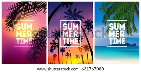 summer tropical backgrounds set