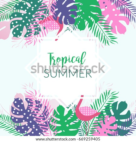 Summer tropical banner with palm leaves and flamingo. Modern style. Vector illustration. #669259405