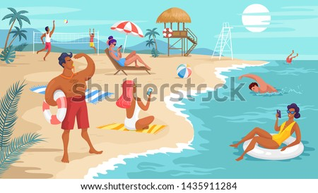 Summer tropical beach safeguard and resting people
