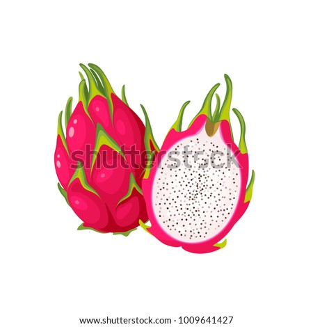 Summer tropical fruits for healthy lifestyle. Red dragon fruit, whole fruit and half. Vector illustration cartoon flat icon isolated on white. #1009641427
