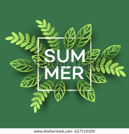 summer tropical leaf paper cut