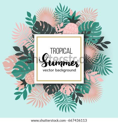 Summer tropical leaves poster design, vector illustration