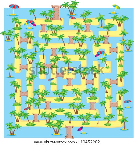 summer tropical maze or labyrinth, children toy