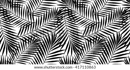 Summer Tropical Palm Tree Leaves Seamless Pattern Vector Grunge Design For Cards Web