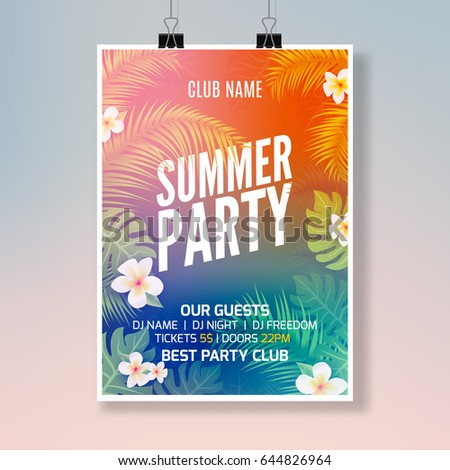 Summer tropical party flyer design template. Hawaiian floral exotic poster. Vector colorful summer vacation.