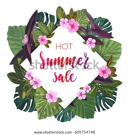 Summer tropical sale design with exotic palm leaves and pink flowers. Jungle vector floral template.