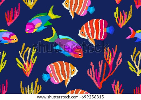 Summer Tropical Sea Seamless Vector Pattern With Stylized Embroidered Texture Multicolored Exotic Fishes And
