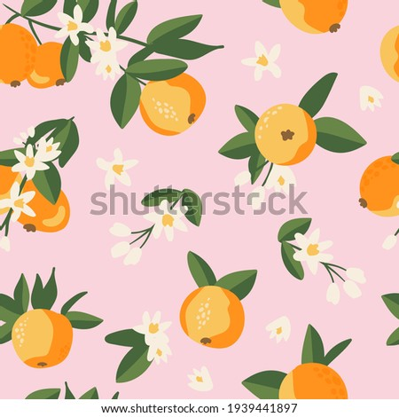 Summer tropical seamless pattern with colorful oranges and flowers.Vector citrus fruits background. Modern exotic floral design for paper, cover, fabric, interior decor and other users.