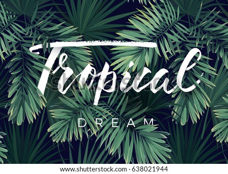 stock-vector-summer-tropical-vector-design-for-banner-or-flyer-with-dark-green-palm-leaves-and-lettering