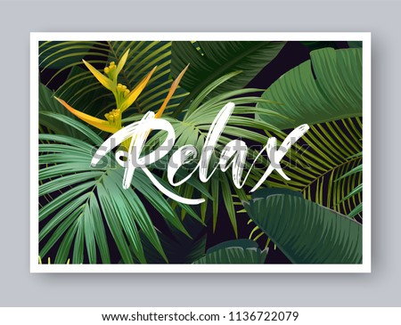 stock-vector-summer-tropical-vector-design-for-banner-or-flyer-with-dark-green-palm-leaves-exotic-flowers-and