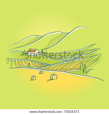 summer tuscan landscape with