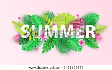 Summer typographic design with abstract forms of paper cutting and tropical leaves. Template for banner, card, poster. Vector illustration.