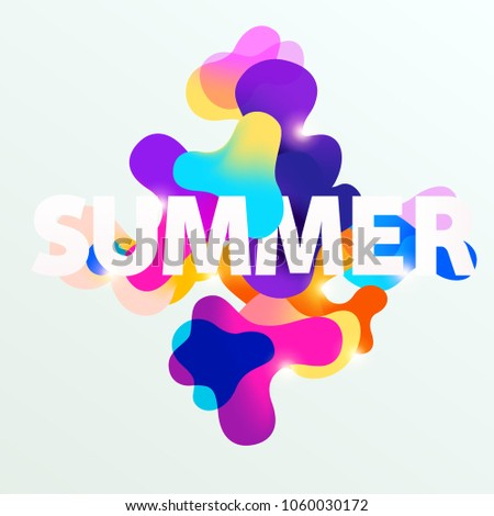 Summer typographic poster. Colorful template.