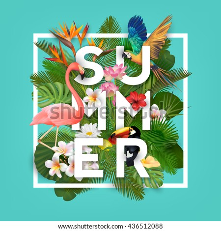 Summer Typographical Background With Tropical Plants, Flowers and Animals
