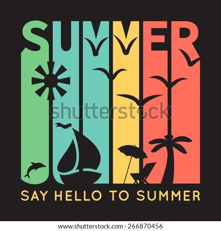 summer typography with beach