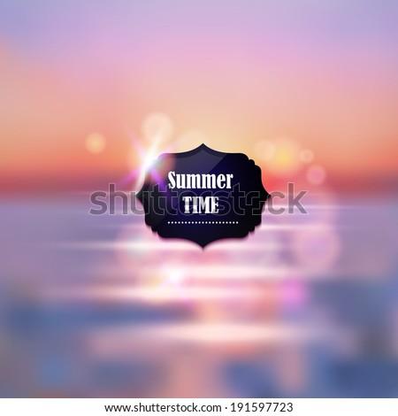 Summer vacation abstract background. Sunset on the sea beach illustration