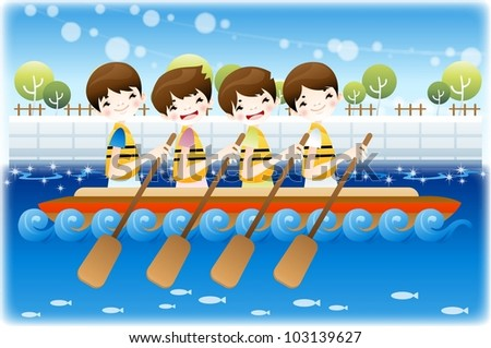 Summer Vacation and Happy Travel - enjoy boating on a lake with cute smiling friends on a background of blurred patterns in blue sky and shiny water