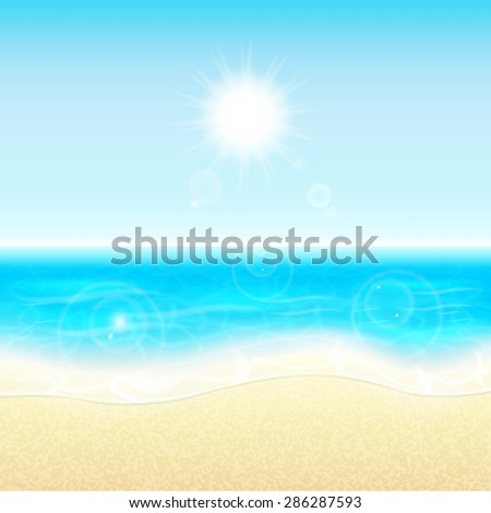 Summer vacation background. Tropical sun, sea and beach. Summer holidays. EPS10 vector