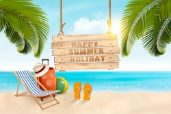 Summer vacation concept background.  Travel items on the beach. Vector.