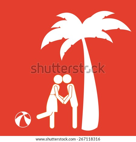 summer vacation design over red