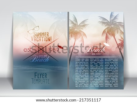 Summer Vacation Flyer Design with Palm Trees and Paradise Island Vector Illustration
