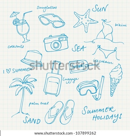 Summer vacation holiday icons and words vector