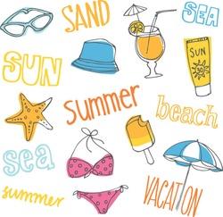 Summer vacation holiday icons vector