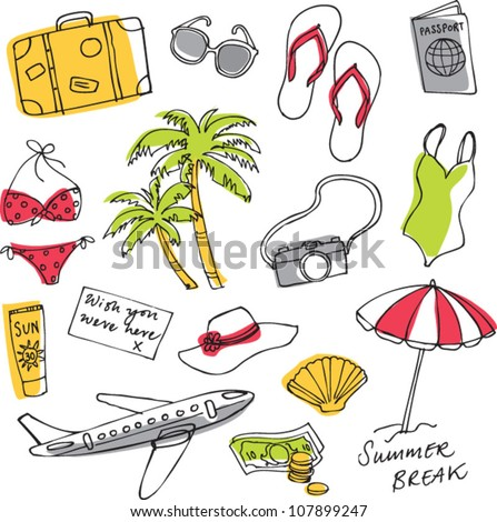 Summer vacation holiday icons vector