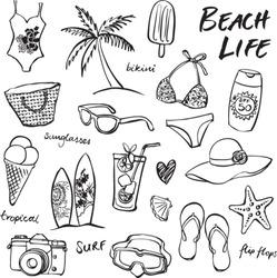 Summer vacation holiday icons vector set