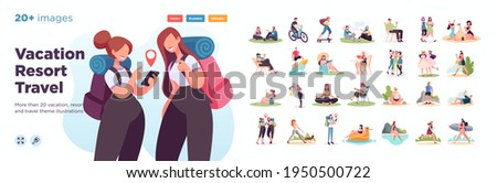 Summer vacation illustration set. Scenes with people performing summer outdoor activities-sunbathing, swimming,hiking. Vector illustration.