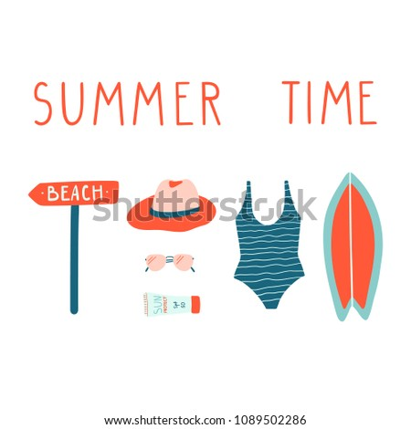 Summer vacation illustrations set. Surfboard, swimsuit, sunglasses, sunscreen, hat. Vector modern doodle clipart.