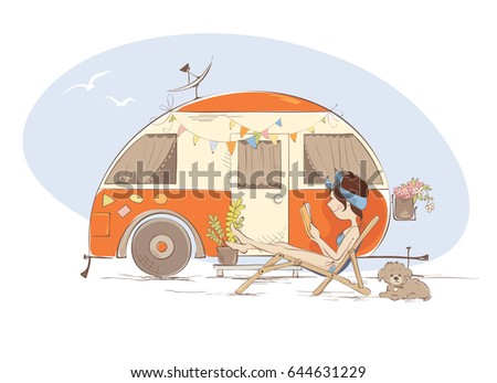 Summer vacation in a house on wheels / Young woman is lying on a deck-chair and reading a book near trailer, funny vector illustration