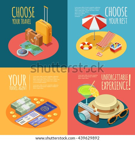 Summer vacation 4 Isometric vintage icons square composition with travel agent advertisement text poster abstract isolated vector illustration
