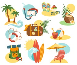 Summer Vacation Labels Icons Signs Collection Isolated on White Background