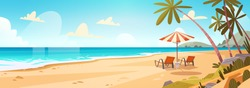 Summer Vacation Loungers On Sea Beach Landscape Beautiful Seascape Banner Seaside Holiday Vector Illustration